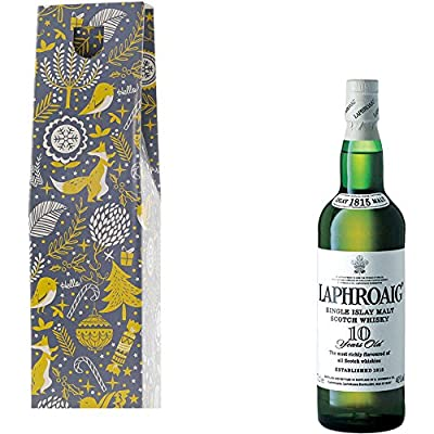 Laphroaig 10 Year Old Single Malt Scotch Whisky in Xmas Gift Box With Handcrafted Gifts2Drink Tag