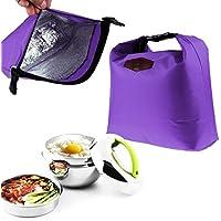 Bolsas de almuerzo, Nevera térmica impermeable aislado almuerzo caja portátil Tote almacenamiento picnic bolsas LMMVP (Púrpura, 28cm×24cm×9cm)