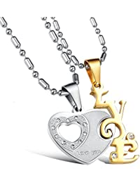 GirlZ! Silver Rose Gold Happy Love Heart Couple Pendant Necklace With Chains For Men & Women