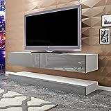 Keinode TV-Schrank zur Wandmontage, moderner LED-Ständer, Flugzeug-Aufhängung, Weiß, Hochglanz, schwimmender TV-Ständer, 140 cm Schrank, Stauraum für Wohnzimmer, Schlafzimmer weiß