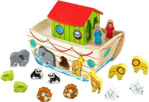 KidKraft 63244 Arche Noah Formen zum Sortieren aus Holz mit Tieren - Holz-Spielzeug Puzzle für Babys, Kleinkinder und Kinder