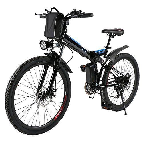 Minilism Faltbares E-Bike, Elektrofahrrad Klapprad 36V 250W Mountainbike, Große Kapazität Pedelec mit Lithium-Akku und Ladegerät (20Zoll/26Zoll) (26'' Speichenrad (schwarz))