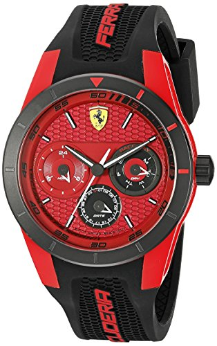 ferrari-mens-441mm-black-silicone-band-plastic-case-quartz-red-dial-analog-watch-0830255
