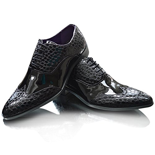 Giovanni , Basses homme Black Patent Pointed Croc