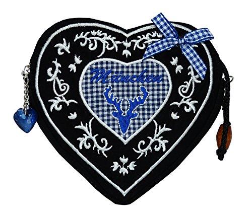 8d81b13b8f65 Damen Dirndltasche - Trachtentasche Herz Umhängetasche - Herztasche zum  Dirndl (Herzmuster Blau - Tasche schwarz