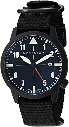 Momentum Men's 'Fieldwalker Automatic' Mechanical Hand Wind Stainless Steel and Nylon Casual Watch, Color:Black (Model: 1M-SN94BS7B)