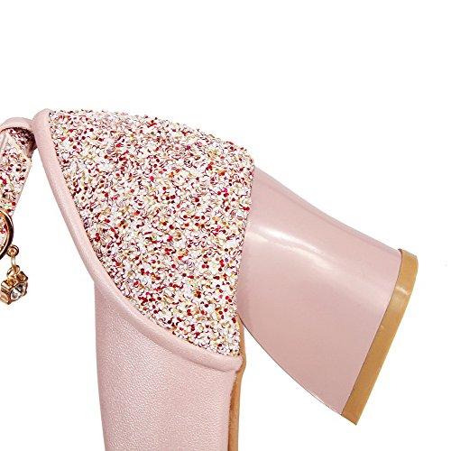 AgooLar Femme Couleur Unie Matière Mélangee à Talon Correct Pointu Boucle Chaussures Légeres Rose