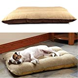 GK Pet Bed Mattress Dog Cat Cushion Pillow Mat Blanket Soft Warm Large Rectangle Sofa with Removable Cushion Mat Warm Basket Fleece Lining Deluxe Puppy Brown Cushion Pet Washable Matres