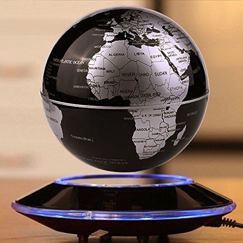 Globe de Levitation Magnétique Rotation de la Carte du Monde Flottation de la Transmission Sans Fil Rotative Touch Control LED Adjustment Home Decor (Noir)