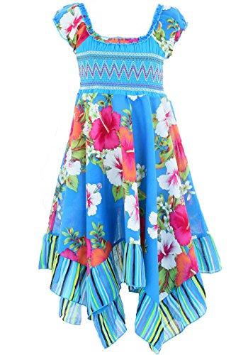 GILLSONZ Neu604vDa Mädchen Kinder Sommer Freizeit Kleid (110/116, Türkis(604))
