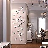 ufengke® 19-Pcs Fünf-Spitz Sterne Spiegel Effekt Wand Aufkleber Art Und Weiseentwurfs Kunst Abziehbilder Hauptdekoration Silber