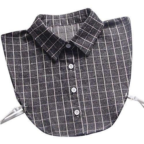 (Kanpola Damen Kragen Bluse Top Elegant Abnehmbare Blusenkragen Shirtkragen Topkragen Weiß/Grau (Grau Z))