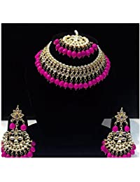 Stylish Beautiful Party Wear Indian Traditional Ethnic Kundan Jewellery Pink Set For Girl And Women With Free...