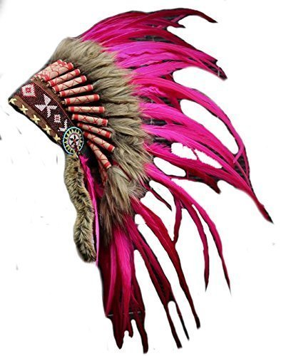 KARMABCN X23-volle rosa Feder Kopfschmuck, Native American Indian -