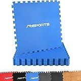 Msports Bodenschutzmatten Set Premium - 8 Schutzmatten in verschiedenen Farben 3,175m² | Bodenschutz 60x60 cm | Stärke: 1,0 cm | Puzzlematten Gymnastikmatte (Blau)