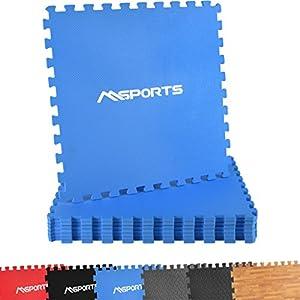 MSPORTS Bodenschutzmatten Set Premium – 8 Schutzmatten 3,175m² | Bodenschutz 60×60 cm | Stärke: 1,0 cm | Puzzlematten Gymnastikmatte