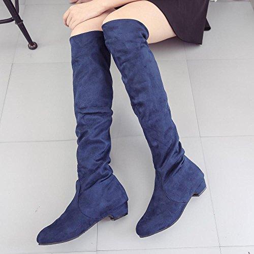 Longra Caricamenti del sistema di alta qualità degli alti talloni di colore solido caricamenti del sottile tasca sottile della scamosciata elastica della gamba sottile Blu