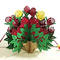 3D Greeting Cards, Creative Rose Flower 3D Pop Up Paper Card for Birthdays, Mother Day, Thank You, Wedding or Anniversaries Durable and Useful Fliyeong