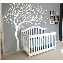 Colore: bianco, motivo: fiori di ciliegio adesivi da parete, albero di Natale con uccellini, per bambini, la camera da letto, motivo: Baby Shower-Decorazione da parete