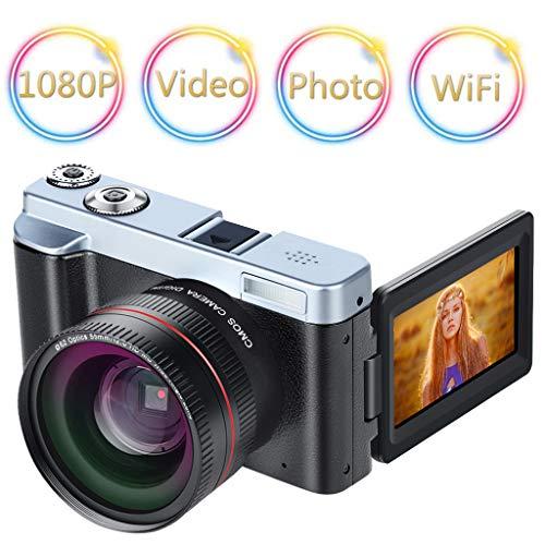 Sixcup® P12 Digital Camera Vlogging Camera Camcorder 24MP Full HD WiFi Camera 3.0 Inch 180 Degree Rotation Flip Screen Camera 16X Digital Zoom (Schwarz) (Canons 12-megapixel-kamera)