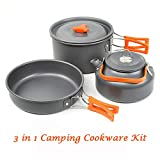 Aitsite Camping Kochgeschirr Set Geringes Gewicht Aluminium Outdoor Camping Topf PfannenAntihaft Tragbare Topfpfanne (Orange)