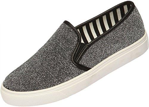 SNRD - 102–Casual plate-forme antidérapante-chaussures à Paillettes Argent - argent