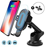 Caricatore Wireless Auto Culla Supporto, Caricabatteria Wireless Auto, Supporto Smartphone per Auto,Baseus Caricabatteria Wireless per Auto con Supporto Telefono Auto,Universale Qi Caricatore Wireless 10W Samsung Galaxy Note 8/ S8/ S8+/ S7/ S6 Edge+/ Note 5, Standard Charging per iPhone X/8/8 Plus