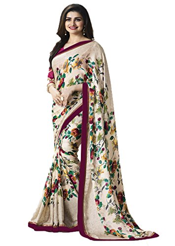 Nirjas Designer Women\'s Chiffon Saree With Blouse Piece (Fba Prachi-3004 A1-Saree_Multi-Coloured)