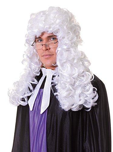 Herren Richter Budget weiß Perücke Accessoire für Hof Gesetz Regentschaft Kostüm Perücke by Partypackage (Kostüm Richter Kinder)