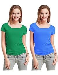 Fashion Line Cotton Lycra Tshirt for Girls/Women (Dark Green & Light Blue, Pack of 2)