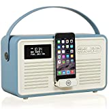 VQ Retro Mk II DAB/DAB+ Digital- und FM-Radio mit Bluetooth, Apple Lightning Dock und Weckfunktion - Blau