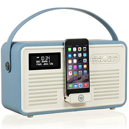 VQ Retro Mk II DAB/DAB+ Digital- und FM-Radio mit Bluetooth, Apple Lightning Dock und Weckfunktion - Blau -