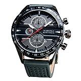 [Globenfeld] Montre Sport Homme – Joint Gris | Cuir Premium avec Chronomètre et Chronographe| Résistant aux rayures | Garantie Platinum de 5 Ans
