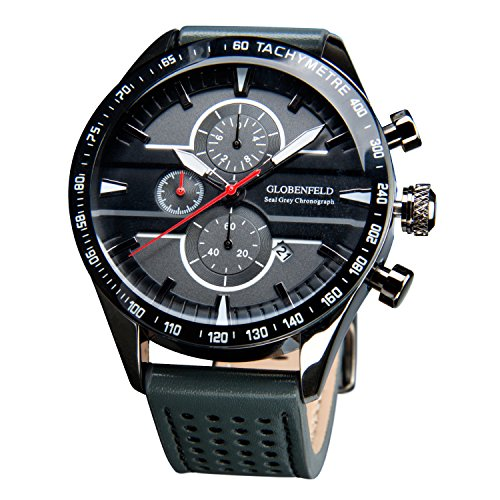 Globenfeld-Seal-Grey-Mens-Chronograph-Sports-Watch-Smokey-Grey-3-Function-Analog-Display-with-Stopwatch-and-Tachymeter-Genuine-Leather-Strap-Scratch-Resistant-Glass-Platinum-5-Year-Warranty
