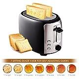 AIMADO Edelstahl 2 Scheibe Brot Toaster 7 Geschwindigkeit einstellbar 800W Krümelschublade wärmeisolierendes Gehäuse