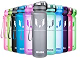 MAIGG Best Sports Water Bottle - 17oz-- Eco Friendly & BPA-Free Plastic - For Running, Gym, Yoga, Outdoors and Camping - Fast Water Flow, Flip Top, Opens With 1-Click - Reusable with Leak-proof Lid (500ml)