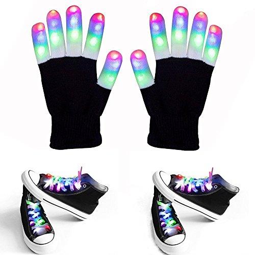 LED Flashing Handschuhe Und Schnürsenkel - Enthalten 1 Paar Weiß Blinkende LED-Handschuhe, 2 Paar Weiße Multi-Color LED Schnürsenkel Für Rave, Party Oder Hip-Pop-Tanz (1 Paar Schwarze Handschuhe + 2 Paar Schnürsenkel)