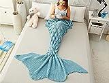 WXMT Coperta per climatizzazione, coda di pesce, coperta a maglia, sacco nanna, sirena per bambini, coda super grande, Wathet, 180 * 80cm 700g