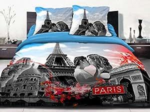 Couette imprimée 220x240 100% coton - 600 grs PARIS BLEU