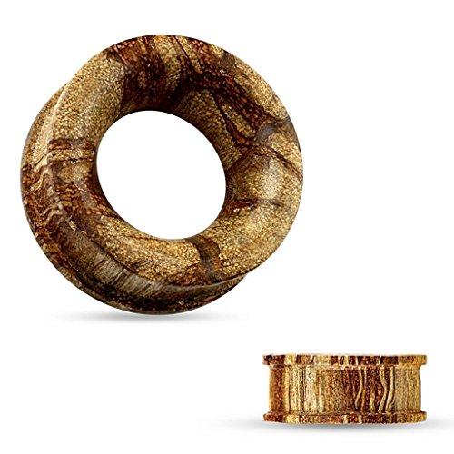 Piercing tunnel concave en bois organique Taille 10 mm