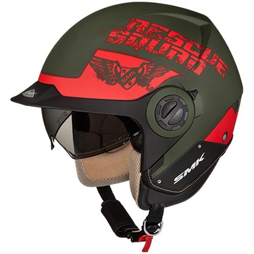 SMK MA830 Derby Rescue Graphics Full Face Helmet (Matt Green and Red, S)