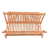 sepbear zusammenklappbar Abtropfgestell, Holz klappbar Trocknen Rack Schüssel Teller Aufbewahrung Halter