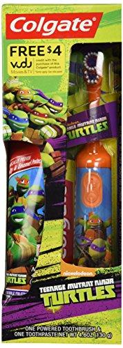 etriebene Zahnbürste - Teenage Mutant Ninja Turtles/TMNT - Orange - mit Colgate Cavity & Enamal Protection Zahnpasta (130gr.) (Orange Ninja Turtle)