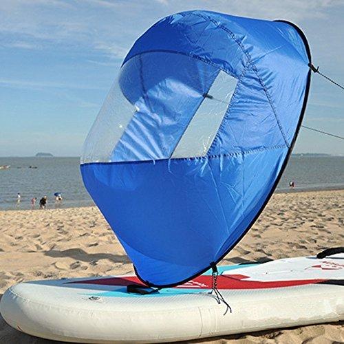 SHUOGOU 42 Pulgadas Downwind Kayak Vela Paddle Kit, Canoa Kayak Vela Kayak Accesorios, Instalación fácil y se Despliega Rápidamente & Compacto y Portátil (Azul)