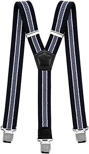 Hosenträger für Herren breit extra starken 4 cm mit 3er Clips Y-Form lange für Männer und Damen Hose alle Farben (Marineblau Weiß Hellblau) (Polyester Model)