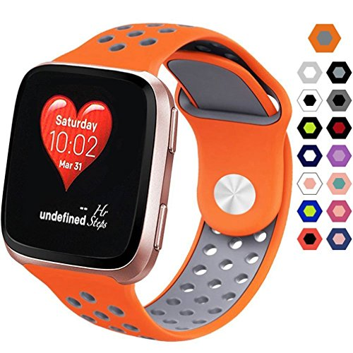 HappyTop Fitbit. Sport Silikon Armband Ersatz-Band, für Erwachsene Kinder-Armband mit Band für kleine und große Größe, Unisex, Orange+Grey, Large (7.2