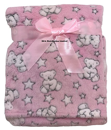Pink Teddy with Star E/&A Luxury Soft Micro Fleece Baby Blanket in Cute Pink Teddy with Star Design 75 x 100cm for Babies from Newborn