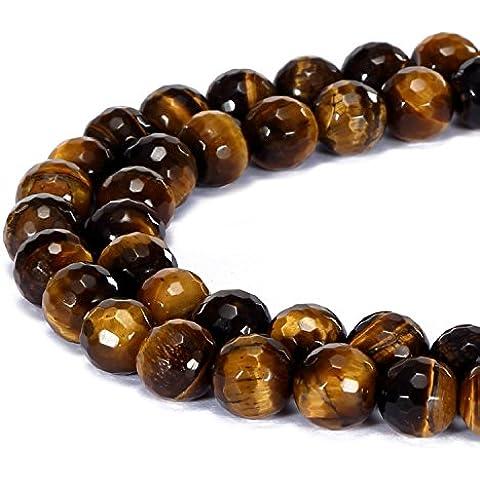 jennysun2010naturale pietra rotonda sfaccettata, perle 4mm, 6mm, 8mm, 10mm, 12mm, 1filo per borsa per braccialetto collana orecchini gioielli artigianato design guarigione, Tiger's Eye, 4 mm - 4 Mm Tiger