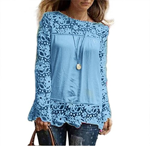 Frauen T-Shirt lmmvp Fashion Damen Long Sleeve Shirt Casual Lace Bluse lose Baumwolle Tops,hellblau,5XL (Printed Knit Tunika)
