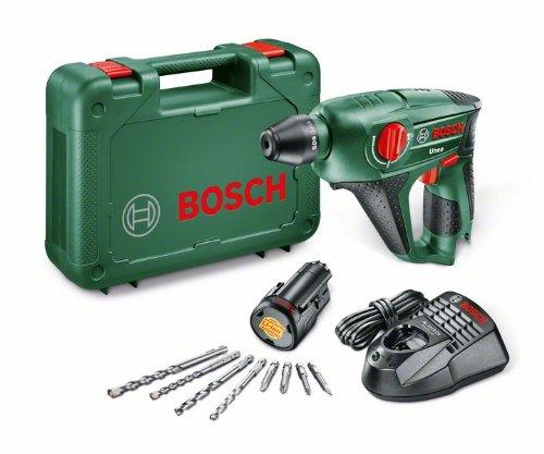 Preisvergleich Produktbild Bosch DIY Akku-Bohrhammer Uneo, Akku, Ladegerät, Betonbohrer, Universalbohrer, Bits, Koffer (10,8 V, 1,5 Ah, max. Bohr-Ø Metall: 8 mm, Beton: 10 mm, Holz: 10 mm)